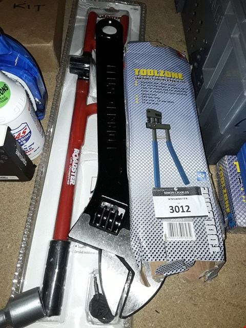 Lot 3012 THREE ITEMS, LARGE ADJUSTABLE WRENCH, STEERING LOCK & TOOLZONE PANEL FLANGE & PUNCH TOOL.