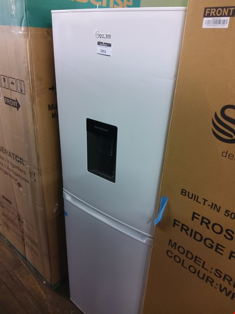 Lot 7051 SWAN WHITE 55CM FRIDGE FREEZER WITH WATER DISPENSER
