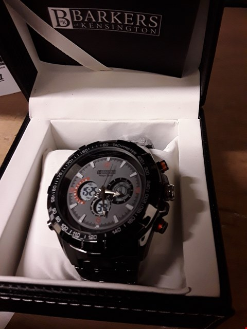 Lot 37 BRAND NEW BARKERS OF KENSINGTON DESIGNER GENTS MEGA SPORT BLACK WRIST WATCH WITH TAGS, BOX & MANUFACTURERS 5 YEAR WARRANTY  RRP £550