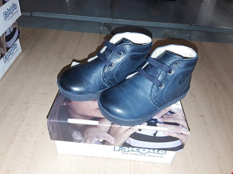 Lot 12432 BOXED FALCOTTO 1195 DARK BLUE LEATHER SHOES UK SIZE 4.5 JUNIOR