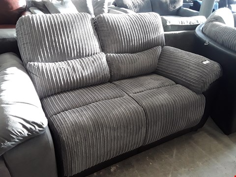 Lot 75 SIENNA BLACK FAUX LEATHER & GREY JUMBO CHORD TWO SEATER SECTION