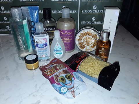Lot 12092 CRATE OF ASSORTED BEAUTY ITEMS TO INCLUDE HAND GEL, HOT WAX PELLETS, SETTING SPRAY AND FACE MASK