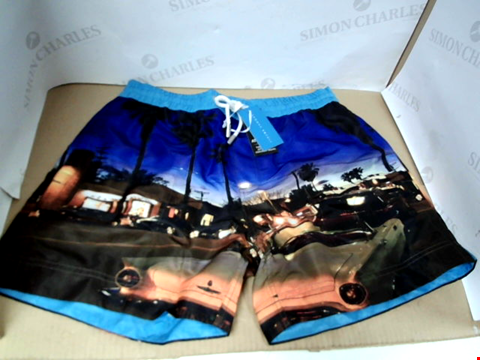 Lot 7058 THOMAS ROYAL MULTICOLOURED STREET AT NIGHT PRINT SWIMMING TRUNKS - SIZE MEDIUM