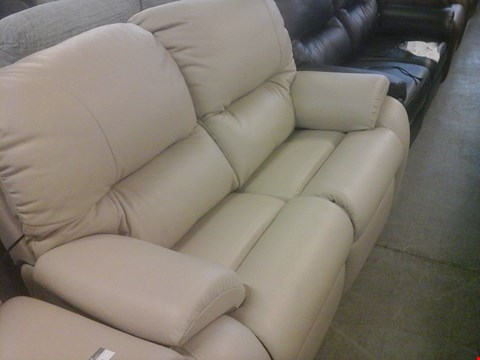 Lot 23 QUALITY BRITISH MADE HARDWOOD FRAMED BEIGE LEATHER 2 SEATER ELECTRIC RECLINER SOFA