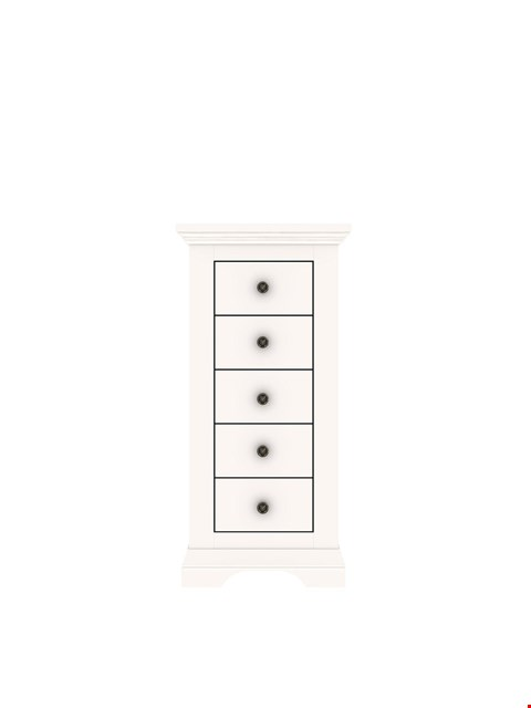 Lot 9008 BRAND NEW BOXED NORMANDY WHITE 5-DRAWER NARROW CHEST (1 BOX) RRP £249.00