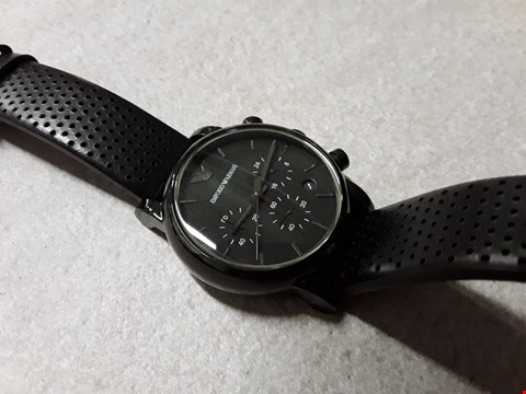 Lot 6015 BOXED EMPORIO ARMANI STYLE BLACK FACED WATCH WITH LEATHER STRAP