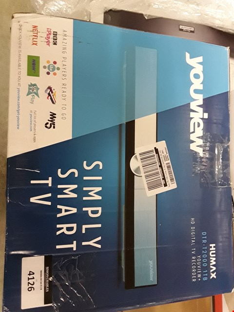 Lot 4126 BOXED GRADE 1 HUMAX DTR-T2000 YOUVIEW DIGITAL SET TOP BOX WITH REMOTE AND ACCESSORIES