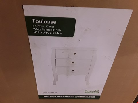 Lot 141 BOXED TOULOUSE 3-DRAWER CHEST - PAINTED WHITE