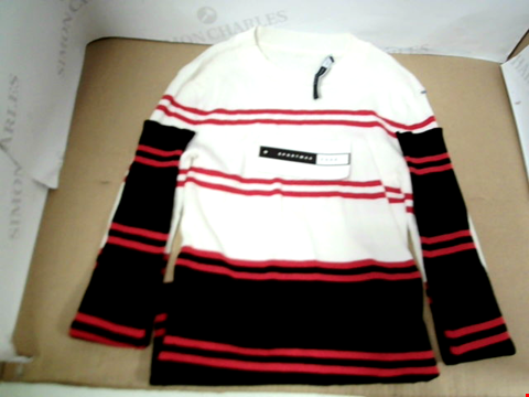Lot 7064 SPORTMAX CODE WHITE/BLACK AND RED VERTICAL STRIPE SPORTS SWEATER -SIZE SMALL