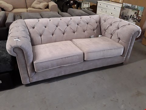 Lot 2037 DESIGNER GREY FABRIC CHESTERFIELD STYLE THREE SEATER SOFA