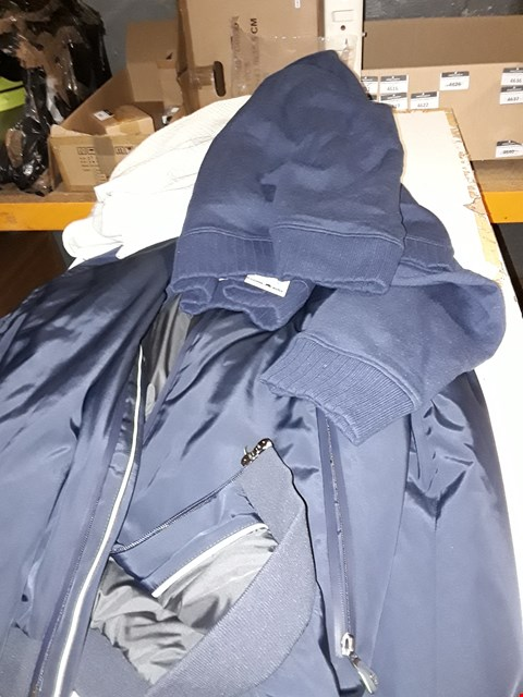 Lot 1447 A LOT OF 6 BOXES OF ASSORTED CLOTHING ITEMS TO INCLUDE,  NAVY HUGO BOSS JACKETS, BLUE JUMPER AND CREAM CARDIGAN ETC