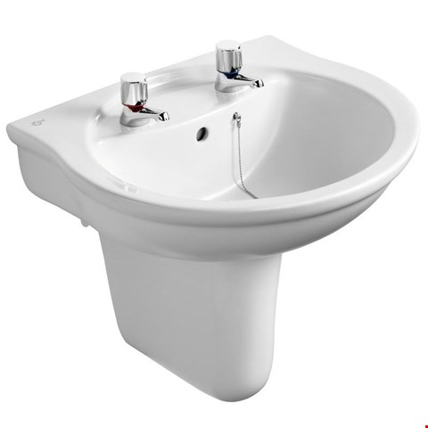 Lot 3002 BRAND NEW BOXED IDEAL STANDARD ALTO 2 TAP HOLE 550mm WHITE BASIN WITH PEDESTAL (TAP NOT INCLUDED 2 BOXES) RRP £89.17