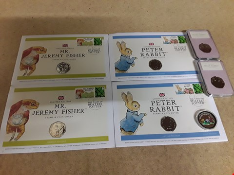 Lot 9159 LOT OF 7 COLLECTABLE PETER RABBIT 50P COINS IN DISPLAY PACKAGING