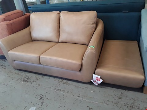Lot 129 QUALITY BRITISH DESIGNER HARDWOOD FRAMED TAN LEATHER TWO SEATER SOFA WITH MATCHING FOOTSTOOL