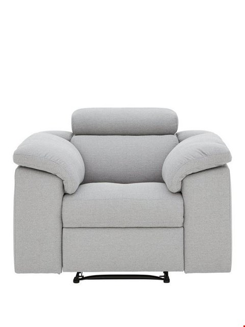 Lot 465 BRAND NEW DESIGNER BRADY GREY FABRIC MANUAL RECLINING ARMCHAIR  RRP £699