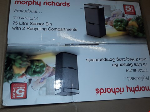 Lot 7548 MORPHY RICHARDS PRO 75L SENSOR BIN WITH 2 RECYCLE BINS - TITANIUM RRP £200.00