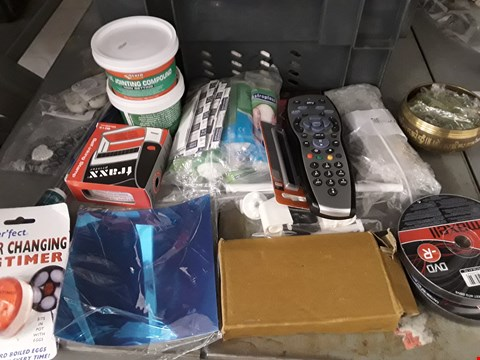Lot 22 BOX OF APPROXIMATELY 39 ASSORTED ITEMS TO INCLUDE REMOTE CONTROL, DVD-R, FLIE JOIINTING COMPOUND ETC