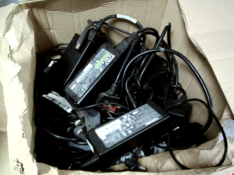 Lot 8293 BOX OF A LARGE NUMBER OF ASSORTED LAPTOP CHARGERS TO INCLUDE SONY, TOSHIBA, HP, ETC.