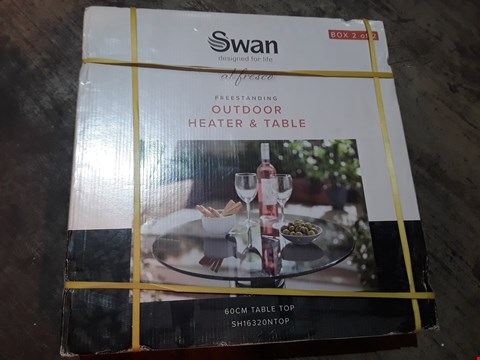 Lot 7068 SWAN OUTDOOR HRATER & TABLE BOX 2 ONLY 60cm TABLE TOP