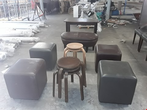 Lot 17 APPROXIMATELY 11 ASSORTED ITEMS OF FURNITURE INCLUDING WOODEN STOOLS , POUFFES AND RECTANGULAR WOODEN TABLE