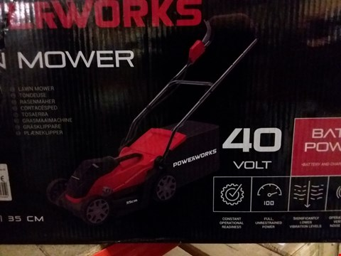 Lot 14087 POWERWORKS 40 VOLT LAWNMOWER