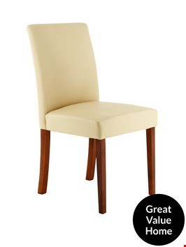 Lot 2173 BOXED PAIR OF LUCCA CREAM FAUX LEATHER AND OAK EFFECT CHAIRS (1 BOX)  RRP £139.99
