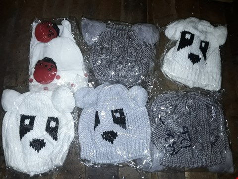 Lot 1121 BOX OF APPROXIMATELY 70 ASSORTED BRAND NEW HATS TO INCLUDE WHITE LADYBIRD BEANIE, GREY KNITTED POM POM HAT