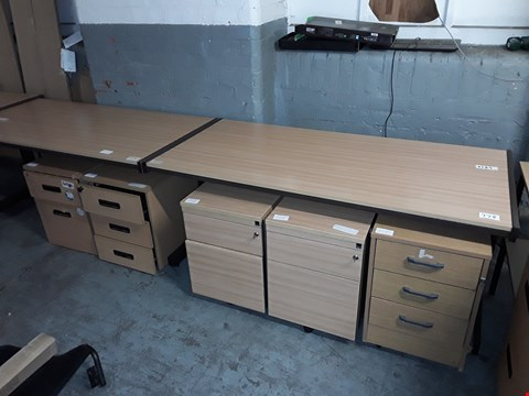 Lot 778 LOT OF 8 ASSORTED OFFICE FURNITURE ITEMS INCLUDES 3 DESKS AND 4 DRAWERED CABINETS