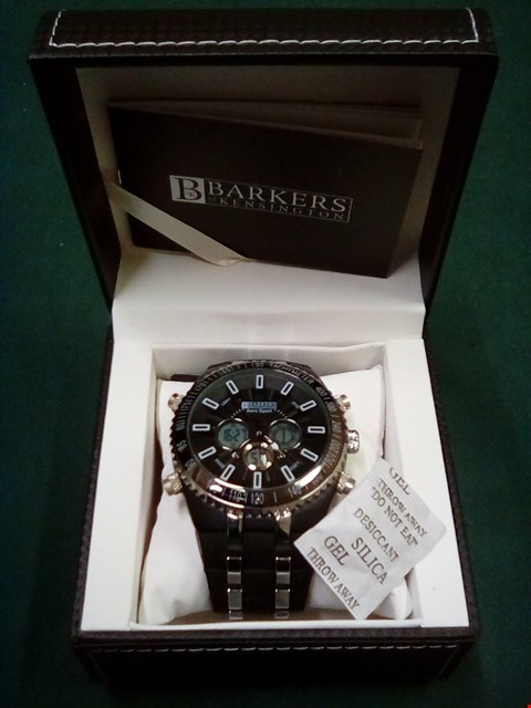 Lot 1078 BOXED BRAND NEW BARKERS OF KENSINGTON AERO SPORT JET BLACK MENS WATCH WITH 5 YEARS MANUFACTURERS WARRANTY RRP £425