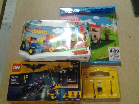 Lot 346 4 ASSORTED PRODUCTS TO INCLUDE; LEGO THE BATMAN MOVIE CATWOMAN CATCYCLE CHASE, LEGO DUPLO AND CREATIVE BRICK BASEPLATE