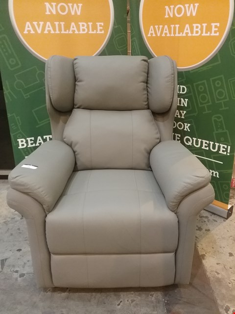 Lot 59 DESIGNER GREY LEATHER RECLINING WING BACK ARM CHAIR