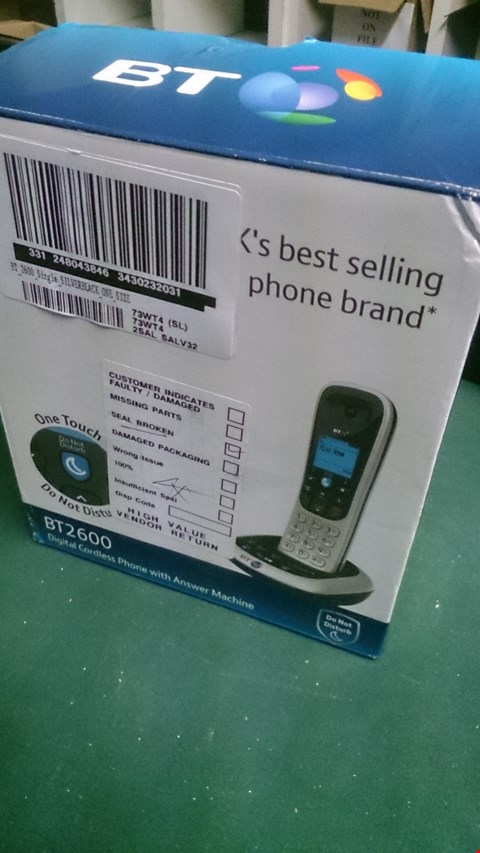 Lot 1467 BT 2600 DIGITAL CORDLESS HOME PHONE WITH ANSWERPHONE  RRP £129.99