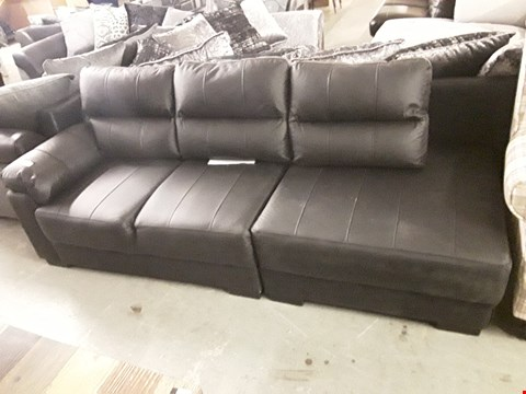 Lot 370 TWO DESIGNER BLACK FAUX LEATHER SOFA SECTIONS