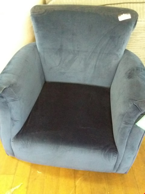 Lot 95 DESIGNER BLUE VELVET STYLE FABRIC ARM CHAIR WITH SCROLL BACK DETAIL