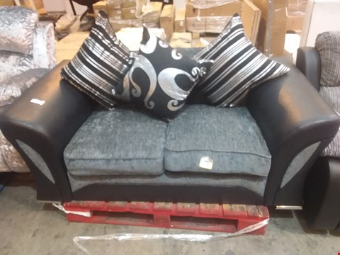 Lot 562 DESIGNER BLACK SUEDE EFFECT AND GREY FABRIC 2 SEATER SOFA WITH SCATTER CUSHIONS