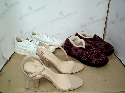 Lot 15036 BOX OF A LARGE QUANTITY OF DESIGNER FOOTWARE ITEMS TO INCLUDE ADIDAS, SCHUH, ULTRAIDEAS ETC