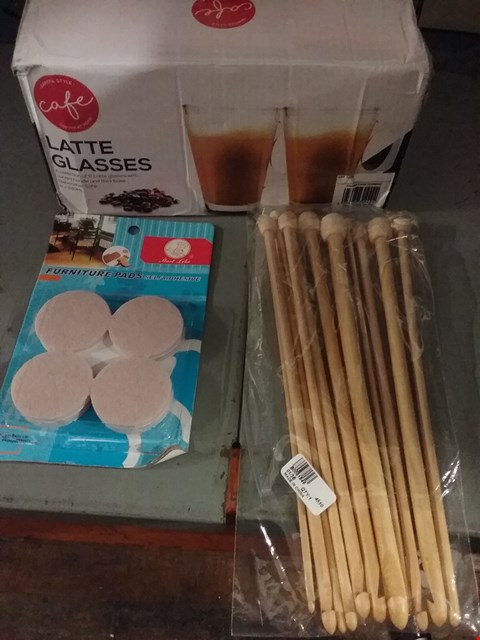 Lot 8173 BOX OF ASSORTED ITEMS TO INCLUDE CAFE LATTE GLASSES, SELF ADHESIVE FURNITURE PADS AND DRUM STICK PACK
