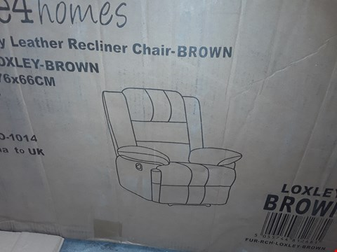 Lot 55 BOXED DESIGNER LOXLEY BROWN MANUAL RECLINING EASY CHAIR RRP £384.99