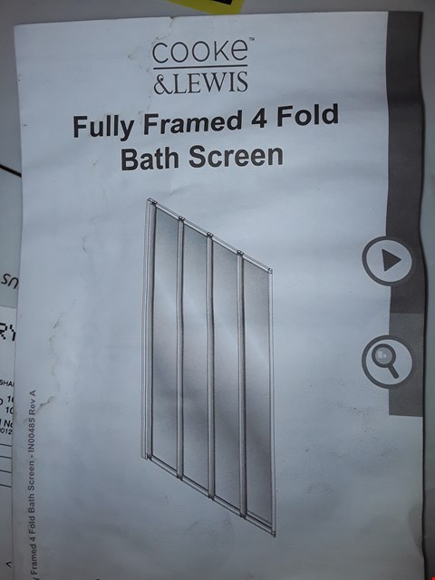 Lot 9086 BOXED COOKE & LEWIS  FULLY FRAMED 4 FOLD BATH SCREEN