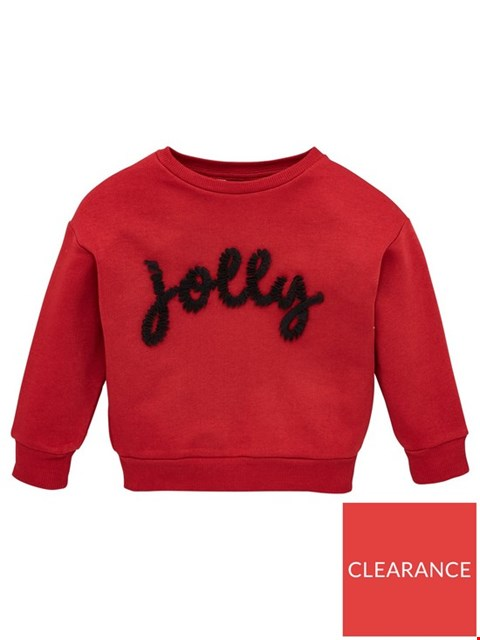 Lot 7326 BRAND NEW V BY VERY GIRLS RUFFLE SLOGAN RED CHRISTMAS SWEATSHIRT - SIZE 3-6 MONTHS