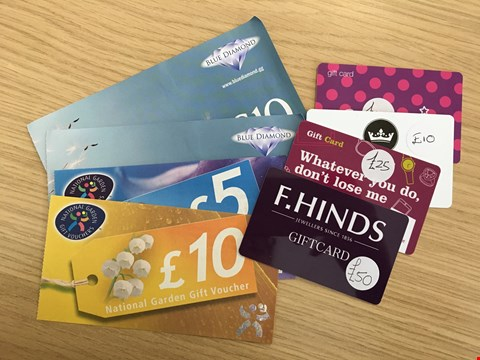 Lot 18 8 ASSORTED GIFT VOUCHERS, TO INCLUDE SUPERDRUG, JONES & PAYNE, BLUEDIAMOND, NATIONAL GARDEN AND F. HINDS.  TOTAL VALUE £130