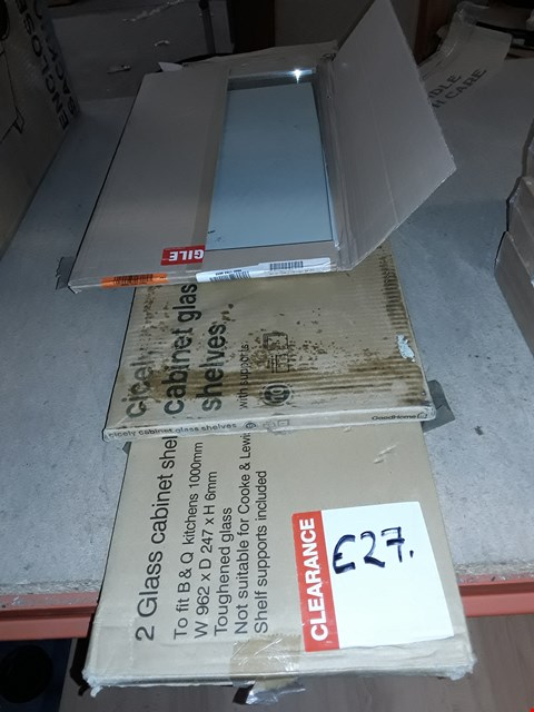Lot 781 LOT OF 6 TEMPERED GLASS CABINET SHELVES IN VARIOUS SIZES