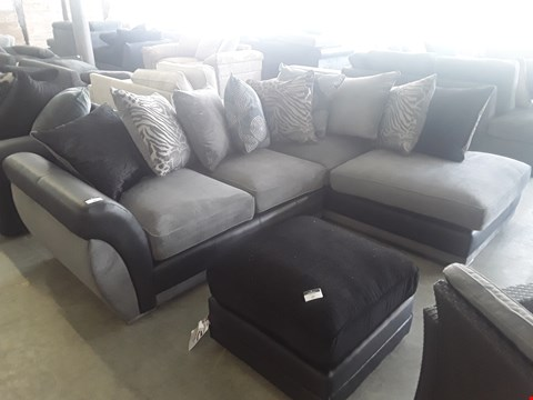 Lot 26 DESIGNER BLACK FAUX LEATHER AND GREY FABRIC CORNER SOFA WITH SCATTER BACK CUSHIONS