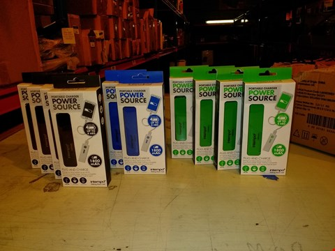 Lot 6038 LOT OF 10 INTEMPO 1800MAH POWER SOURCE PORTABLE CHARGERS - BLACK/BLUE/GREEN