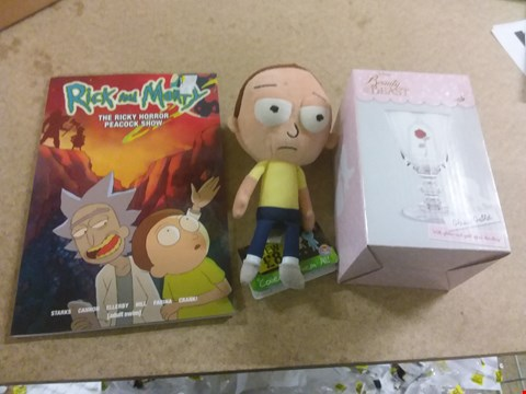 Lot 666 A BOX OF APPROXIMATELY 10 BRAND NEW ITEMS TO INCLUDE A RICK AND MORTY THE RICKY HORROR PEACOCK SHOW, A RICK AND MORTY COLLECTABLE PLUSH AND A BEAUTY AND THE BEAST GLASS GOBLET