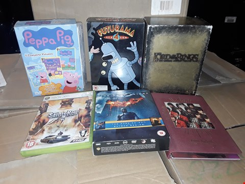 Lot 4145 JOB LOT OF ASSORTED CD/DVD BOXSETS , BOOKS AND GAMES TO INCLUDE SAINTS ROW, PEPPA PIG, LORD OF THE RINGS(4 BOXES)