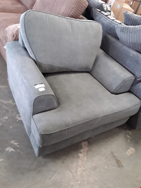 Lot 358 DESIGNER CHARCOAL FABRIC ARMCHAIR