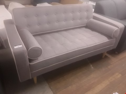 Lot 34 DESIGNER PRAGUE GREY FABRIC TWO SEATER SOFA WITH BOLSTER ROL CUSHIONS & CONTRASTING EDGING DETAIL RRP £299.99