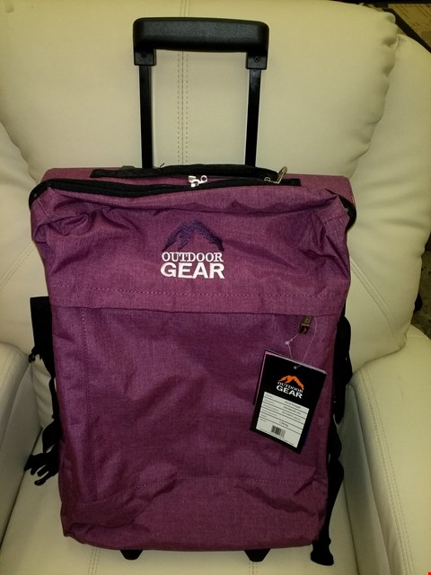 Lot 8752 BOX OF 6 OUTDOOR GEAR 35 LITRE JACQUARD CABIN LUGGAGE BAGS IN PURPLE
