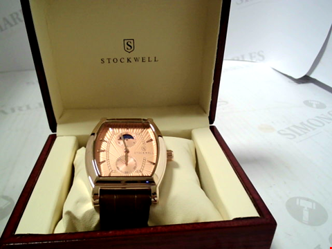 Lot 3293 DESIGNER STOCKWELL MOONPHASE MOVEMNET AM/PM INDICATOR WRISTWATCH WITH LEATHER STRAP RRP £500.00